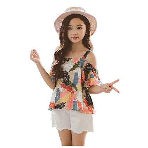 upxiang - Conjunto de ropa de niña de manga corta, impresión de hojas, camiseta + pantalones cortos elegante, casual, verano, 2 piezas, juego para niña de 4 a 12 años multicolor 10 años