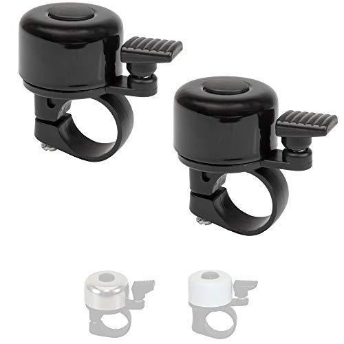 P4B | 2X Mini Fahrradklingel in Schwarz | Montage am Lenker | Stahl Fahrradglocke - Laut und Klar