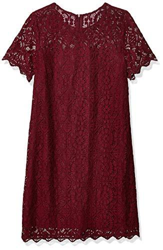 London Times Damen Petite Cathedral Spitze Kurzarm Etuikleid - Violett - 40 Zierlich