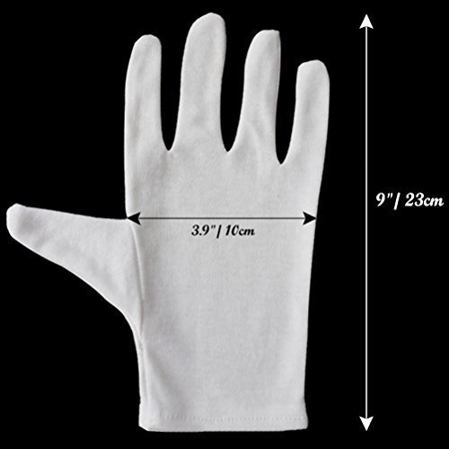 12 Pairs White Cotton Gloves, for Hands Cosmetic Moisturizing Spa, Eczema Treatment Overnight, Jewelry Inspection, Party Wearing for Women(Medium)