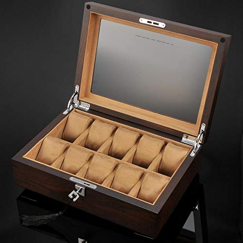 LXJLWJB Elm Watch Box 10 Watch Solid Wood Watch Box Mechanical Watch Box Wooden Storage Collection Box, Light Brown Interior