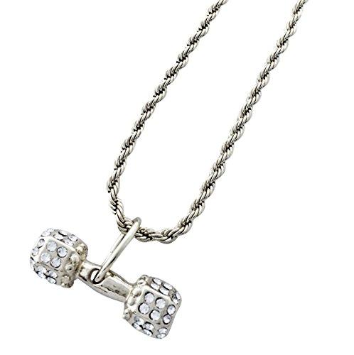 Exo Jewel Iced out - Collar con Colgante de latón Plateado con Cadena de Cuerda de 61 cm