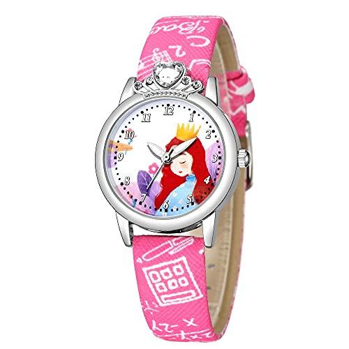 CXJC Cuadro y Dulce Estilo de Cuarzo de Estilo Princesa, niña con Reloj de Diamantes de imitación (Color : C)
