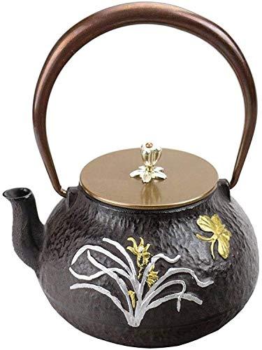 okuya Japoński Czajniczek 1,2l Czarnki Czajnik żeliwny, żeliwny czajniczek płaski dno dla kuchenki indukcyjnej na węgiel drzewny - Czajnik retro Czajnik zestaw motyla wzór Czajnik żeliwny