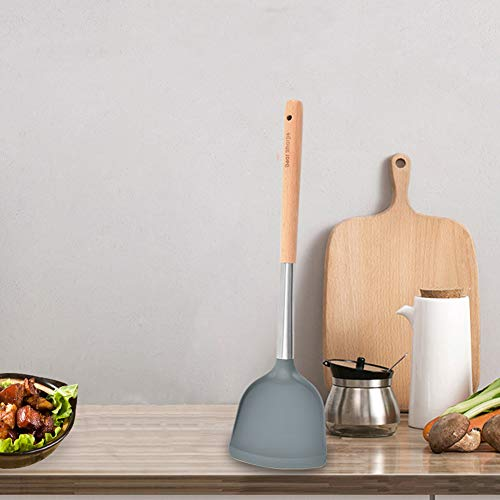 Espátula para Wok Espátula De Silicona para Wok con Mango De Madera Revestimiento Antiadherente Utensilios De Cocina Fáciles De Limpiar para Cocinar Huevos Fritos