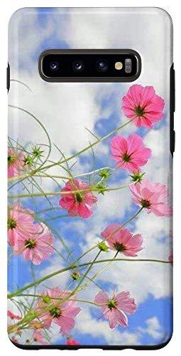 Galaxy S10+ Pink Wildflower Blue Sky White Clouds Flower Case