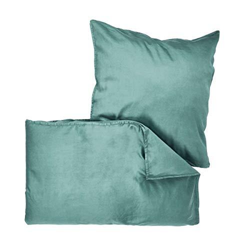 Butlers BEDTIME Satin Bettwäsche 135x200 cm Set 2-teilig in Petrol - Bettzeug aus Baumwolle - Bezug für Kopfkissen und Decke
