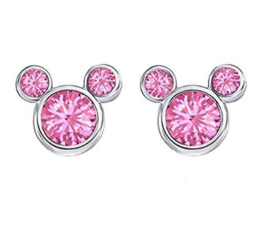 findout Damen Sterling Silber Kubikzircon Amethyst weiß rosa Kristall Mickey Mouse Ohrringe, für Mädchen Kinder. (f1758) (pink)