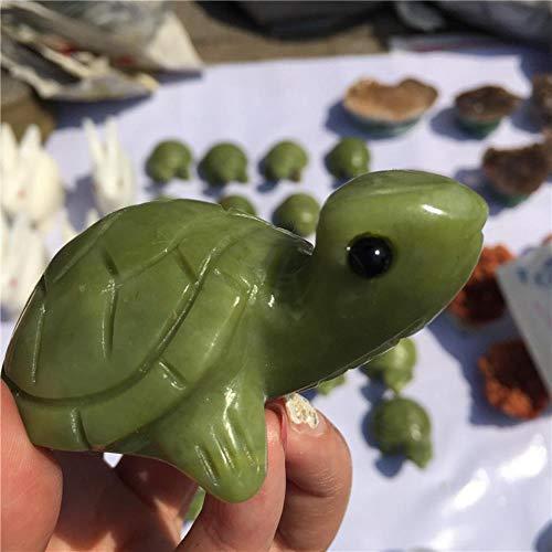 KAPU Piedra Natural Hsiuyen Jade Cristal Hecho A Mano Tallado Tortuga Verde Jade Tortuga Moda Tallada Artesanía Animal Figurita Regalos