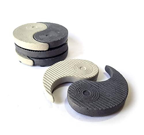 Yin Yang Handmade Stone Coaster | 4 Pack | Concrete 2 Part Cup Holder | Zen Buddhism Yoga Meditation Decor