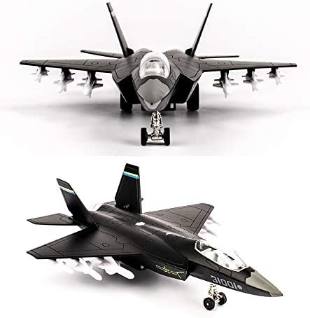 Topwon Die Cast Metal Military Fighter Jet for Kids Blue Airplane Toy with LED Light
