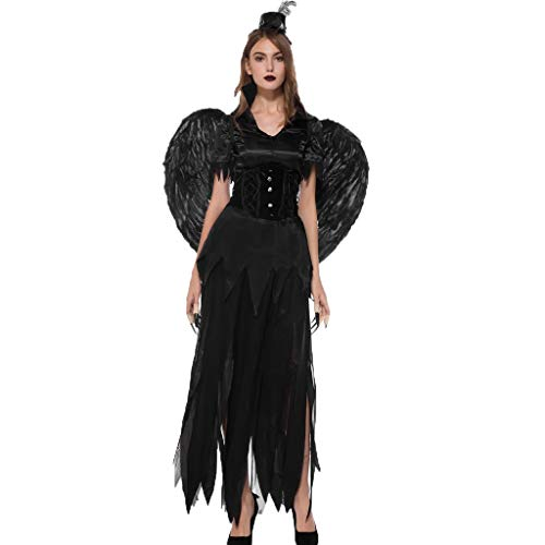 Lowest Price! Womens Halloween Costume Dress with Wings Hat Black Short Sleeve Asymmetric Hem 6 pcs ...