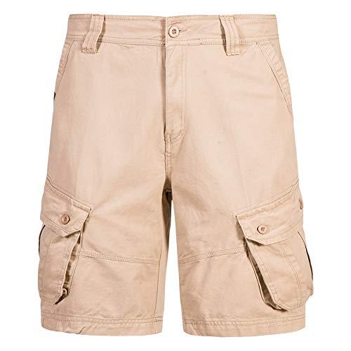 Whittie Pure Cotton Tooling Shorts Hommes Couleur Unie Multi-Poches à Cinq Points Pantalons Courts D'été Décontractés,Brown,34