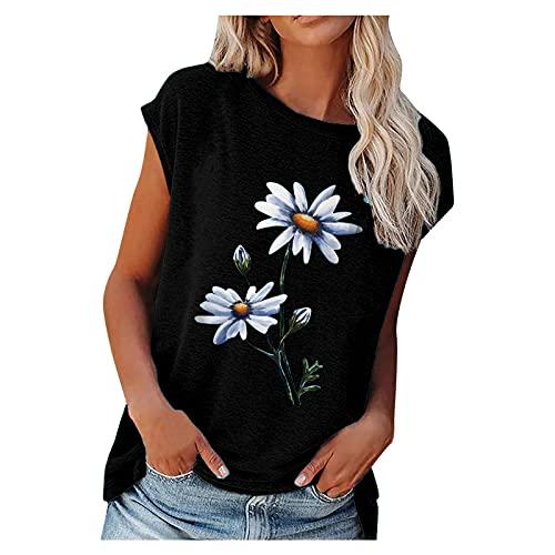 T-Shirt Damen 3D Print Sommer Kurzarm Oberteile Oversize Chrysanthemenmuster Lockeres mit Kurzen Ärmeln Blumen Motiv Tunika Shirt Lose Rundhals Bluse Tee Top Rundhalsausschnitt Teenager Mädchen