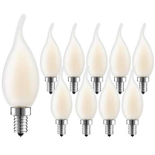 10er Pack kerzenbirnen LED E14 Dimmbar,4W 360LM Ersatz für 30W Halogenlampen, Classic LED Kerzen Filament Lampe, Warmweiß 2700K