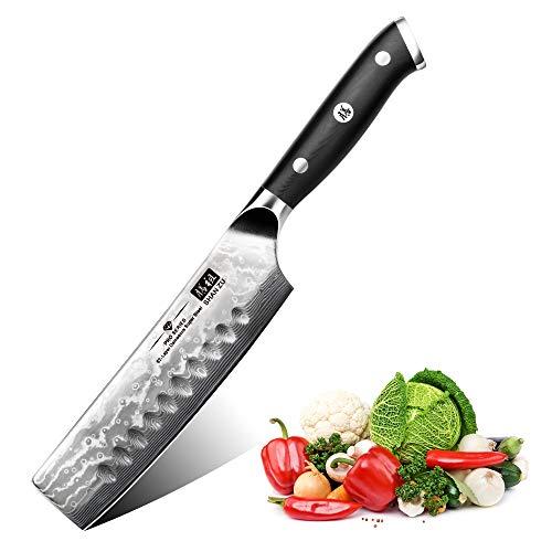SHAN ZU Cuchillo de Cocina Nakiri Damasco, 16.5cm Cuchillo
