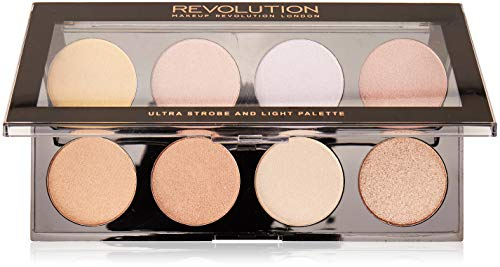 MAKEUP REVOLUTION Ultra Strobe and Light Palette - Highlighter mit 8 Schimmer-Nuancen - vegan, glutenfrei und tierversuchsfrei - 15 g