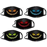 UUNN 4/5PC Visage Protection_Masques pour Adultes, Thème de Halloween Imprimé Visage Echarpes, Réutilisable Lavable Anti-poussière Couvrant