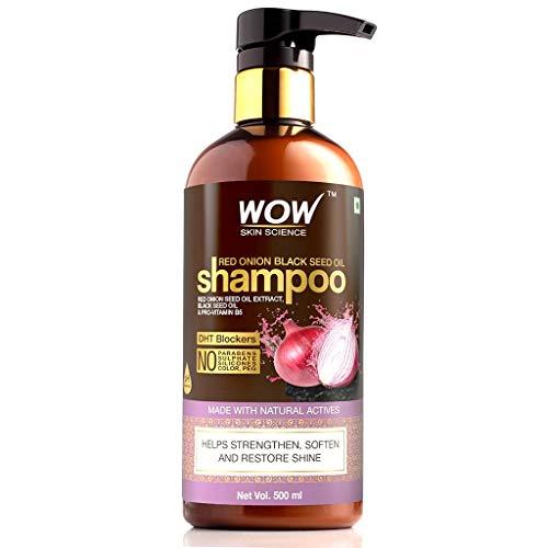 WOW Skin Science Red Onion Black Seed Oil Shampoo with Red Onion Seed Oil Extract, Black Seed Oil & Pro-Vitamin B5, 500 ml)