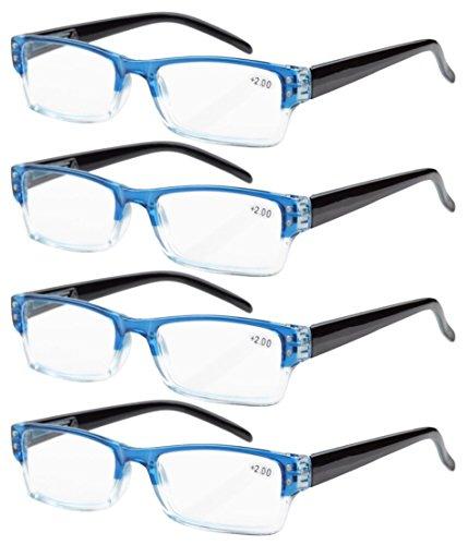Eyekepper 4-pack Gafas de lectura rectangular con bisagras de resorte azul +0.75