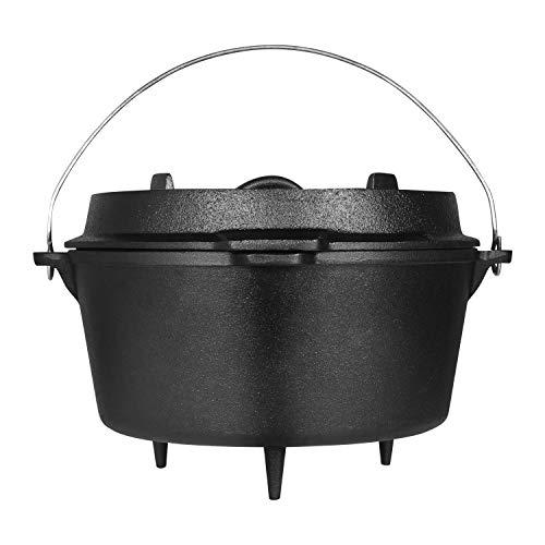 Ribelli BBQ Dutch Oven Füße ca. 9,5 Liter schwarzes Gusseisen - Deckel - Henkel - Topf