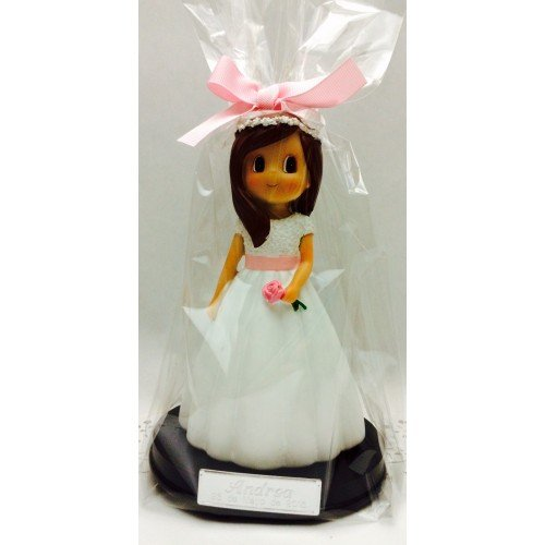 Figura comunión niña tarta GRABADA muñeca PERSONALIZADA figuras pastel con flor