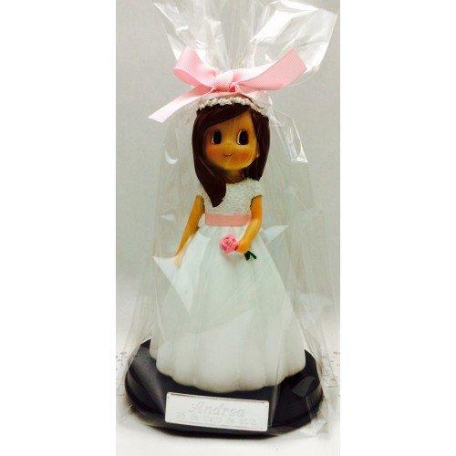 Figura comunión niña tarta GRABADA PERSONALIZADA figuras para pastel con flor