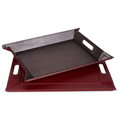 FREEFORM DUO - 2in1 wendbares Tablett & Tischset, anthrazit/burgund, Kunstleder, Maße: 55 x 41 cm