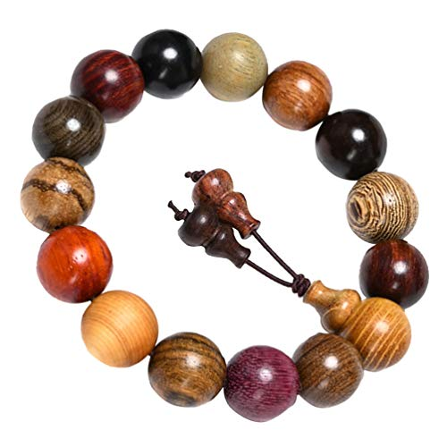 Holibanna Mala Beads Bracelet Buddha Bead Bracelet Buddhist Rosary Jewelry 15 Wood 15mm Beads Bracelet for Men Women Couple