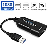 PANMAX Capture Card HDMI to USB 2.0 Full HD 1080P 30FPS Game Video and Audio Grabber Card, Capture Recording Box Compatible with Windows Linux Mac OS System YouTube OBS VLC Amcap for PS4/ Xbox/DSLR
