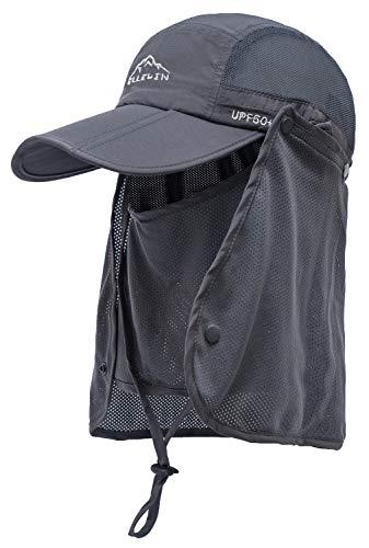 ELLEWIN Outdoor Fishing Flap Hat UPF50 Sun Cap Removable Mesh Face Neck Cover, D-grey/ Mesh Neck Cover, M-L-XL