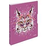 herlitz 50027330 Ringbuch A4, 2 Ringe, 16mm, Motiv: Wild Animals Luchs, 1 Stück