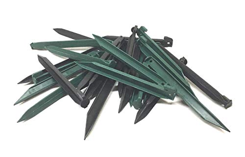 Sweet Online Deal Plastic Tent Nails Durable Spike Hook Garden Stakes Pegs - 24 Pack (Green&Black)