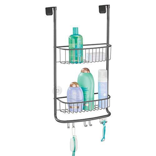 mDesign Duschablage zum Hängen – praktisches Duschregal ohne Bohren aus rostfreiem Metall – 2 Duschkörbe zum Hängen mit 6 Haken für Duschzubehör und Handtuchhalter – grau