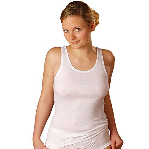 HERMKO 1310 5er Pack Damen Unterhemd aus 100% Bio-Baumwolle bis Größe 68/70, Farbe:weiß, Größe:52/54 (XXL)