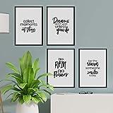 Nacnic Pack de Posters con Frases inspiracionales. Set de láminas de decoración con Frases Blanco y Negro motivadoras y llenas de energia. Tamaño A4