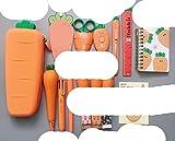 2021 Creative Zanahoria Series - Estuche de silicona suave para lápices, organizador de bolsas de papelería para niños, regalo de cumpleaños, Zanahoria, juego de serie A4