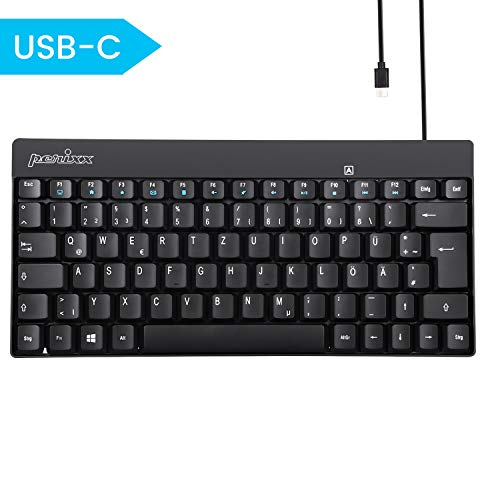 Perixx PERIBOARD-422 Kabelgebundene kompakte Mini Tastatur, USB C Anschluss, Schwarz