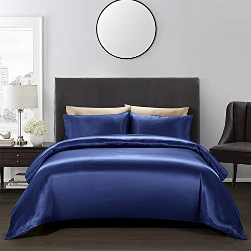 AiMay 3 Piece Satin Duvet Cover Set (1 Duvet Cover + 2 Pillowcases) Rich Silk Luxury 100% Super Soft Microfiber Bedding Collection Reversible Stain-Resistant Wrinkle Free (Queen, Navy Blue)
