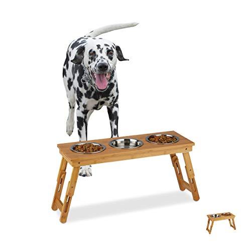 Relaxdays Napfständer, mittelgroße Hunde, für Wasser & Futter, höhenverstellbar und faltbar, HxBxT 31x70x23 cm, Natur, 3 Näpfe, 1 Stück