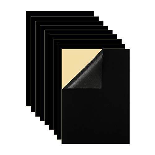 Mesheshe 10PCS Self Adhesive Felt Fabric, Soft Velvet Drawer Liner, DIY Velvet Fabric for Art & Crafts, Jewelry Box Felt Liner, A4 Size (8.3' x 11.8', Black)
