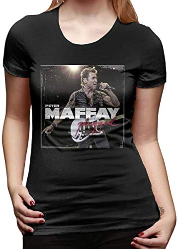 Womens Peter Maffay 1 Casual T-Shirts Black with Creative Printed Short Sleeve,L