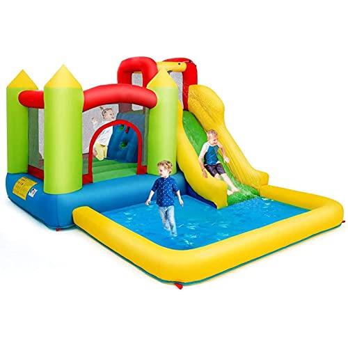 FYHpet Castillo Inflable para niños tobogán acuático Inflable de Uso doméstico Piscina de Juego y Tobogán para Infantil Centro de Juego de 350x280x190cm Sin Soplador