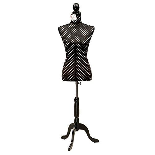 Prym Deko-Kleiderform, gepunktet, aus Synthetik, Schwarz/Weiß, 82,5 x 37 x 24 cm