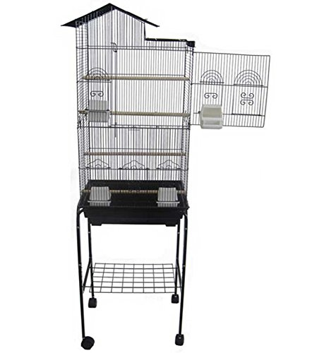 "YML 6894 3/8"" Bar Spacing Tall Villa Top Bird Cage with Stand, 18"" x 14""/Small, Black"