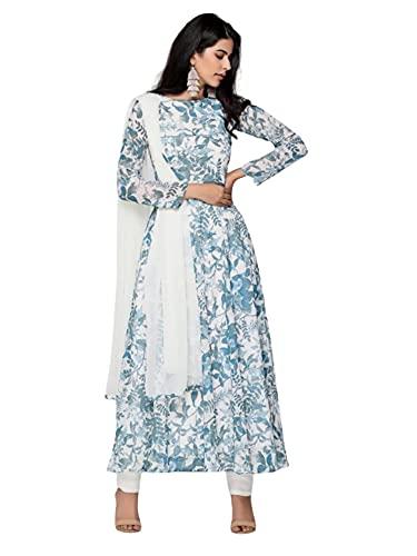 Blanco Algodón Anarkali Kurti con estampado azul hielo y Mulmul Dupatta indio étnico formal verano suave pantalones traje 405i - - Large