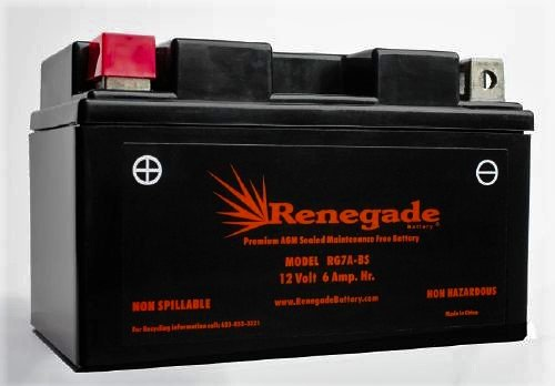 Motorcycle Battery; RG7A-BS; FITS KYMCO (2011, 2012, 2013, 2014, 2015, 2016) Like 200i (LX) / Like 50 (2T) (2T LX) / Super 8 50 (R) (X); Part# BTX7A-BS, UTX7A, YTX7A-BS