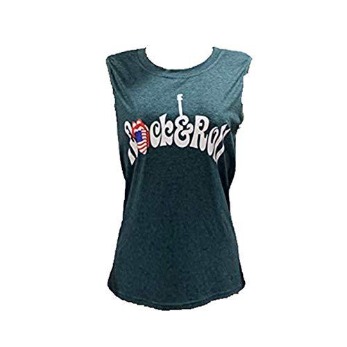 Camisa de algodón para mujer de verano, camiseta sin mangas con cuello redondo y letras, camiseta de manga corta para mujer, estilo informal c XL