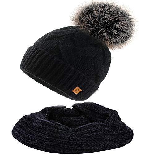 MFAZ Morefaz Ltd Set Mütze & Schal Flechte Damen Winter Beanie Wurm Strickmütze Mohair Wolle Fleece Bommel Pom Pom (Black Mütze & Schal)