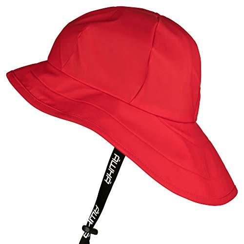 AWHA Südwester Regenhut rot/Unisex - wasserdichte Mütze mit breiter Krempe und Ohrenklappen